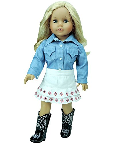 18 Inch Doll Western Outfit, Chambray Shirt & White Embroidered Skirt, Perfect for American Girl Dolls & More! 18 Inch Cowgirl Chambray Doll Shirt & White Embroidered Skirt