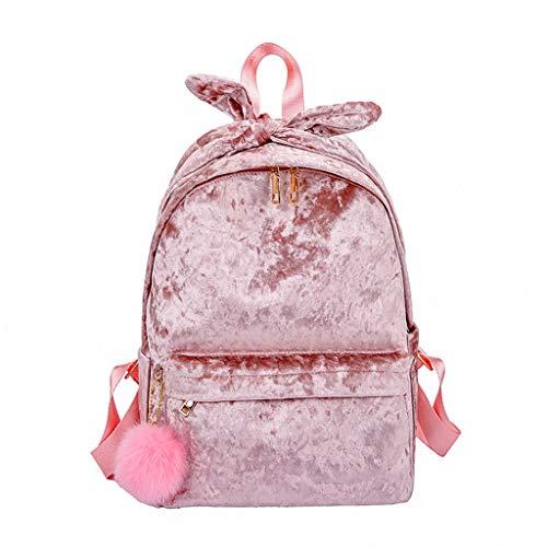 VECOLE Rucksäcke Damen Plüschrucksack Schülertasche Schulranzen Outdoor-Shopping Reiserucksack(Rosa)