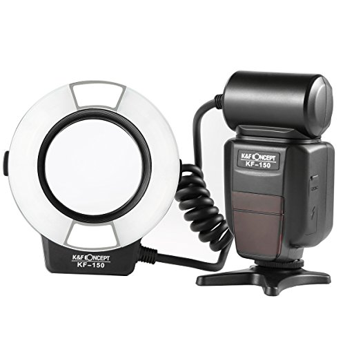 Macro Ring Light Flash, K&F Concept KF-150 E-TTL Speedlite LCD Display and Wireless Slave Function with 6pcs Adapter Rings Compatible with Canon DSLR Cameras