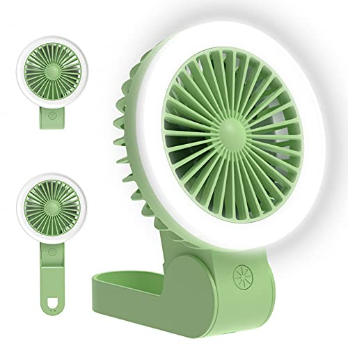 Mini Handheld Fan with LED Light, Adjustable USB Rechargeable Small Portable Personal Fan Foldable Stroller Desk Table Fan for Kids Girls Woman Home Office Outdoor Travel (Green)