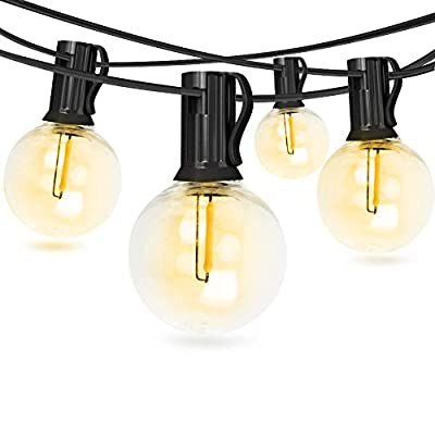 FungLam 2 Pack 25Ft G40 Globe String Lights with 25+2 Plastic Clear Bulbs, UL Listed Backyard Patio Lights, Hanging Waterproof Lights for Indoor/Outdoor Commercial Decor