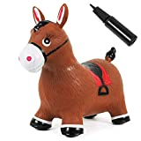 Kiddie Play Bouncy Horse Hopper for Toddlers Inflatable Animals Riding Toys (Pump Included)