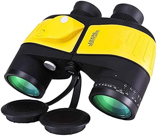 YANGHAO-Telescopio de alta definición y alta poten Telescopio monocular, binoculares de 10 x 50 para adultos, binoculares potentes para observación de aves, con asalto de rango interno y brújula para