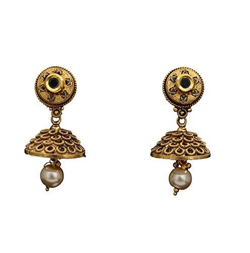 JewelryGift Elegant Jhumkas 18K Gold Plated Black Onyx Baali Kundal Looking Fashion Jewellery for Women Girls MYE 6-BLACK