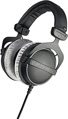 beyerdynamic DT 770 Pro Studio Headphones - Over-Ear, Closed-Back, Professional Design for Recording and Monitoring (80 Ohm, Grey) (Renewed)