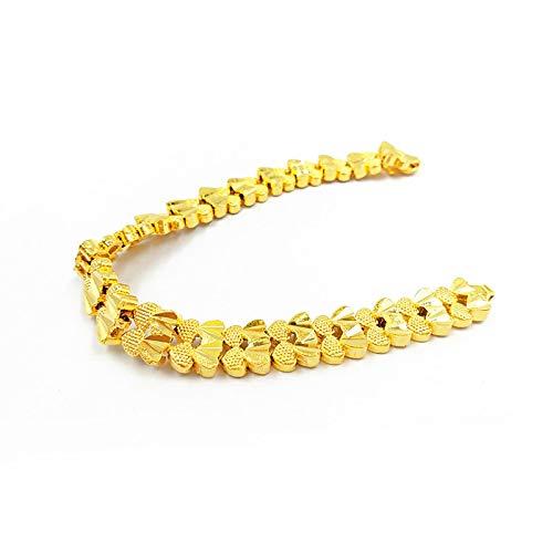 QSO Pulsera de imitación para mujer, chapada en oro, doble corazón