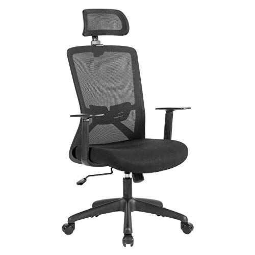 UNICOO - Home Office Chair Ergonomic Desk Chair High-Back Mesh Computer Chair Lumbar Support Comfortable Executive Adjustable Rolling Swivel Task Chair with Armrests (W-215C - Black)