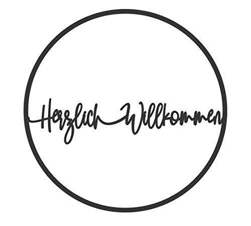 Holz 3D-Motiv Kranz Herzlich Willkommen Schriftzug Wandkranz Türkranz Hoop