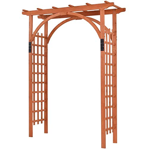 """Giantex 85"""" Wood Arbor Arch Outdoor Trellis Pergola Providence Arbor for Climbing Plants Bridal Party Decoration, Natural (Style 1)"""