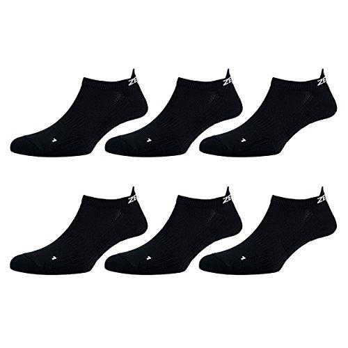 Zen Core schwarze Sneaker Füßlinge 3, 6, 12 Paare, Größe 40-43 und 44-47 für Herren, kurze Socken, Sport&Freizeit, Laufsocken, Fitness, Fahrradfahren, Running Socken, Atmungsaktiv, Antiblasen