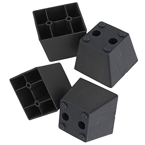 RDEXP 2.36 x2.95 x 2.16' Black Plastic Trapezoid Sofa Couch Furniture Legs Feet Pack of 4 (Type 4)