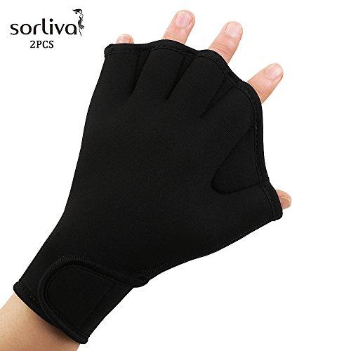 Sorliva Swimming Gloves Frog Web Gloves Finger Out Gloves Body Fitness Swimming Training Resistance Aquatic Gloves (M Black)