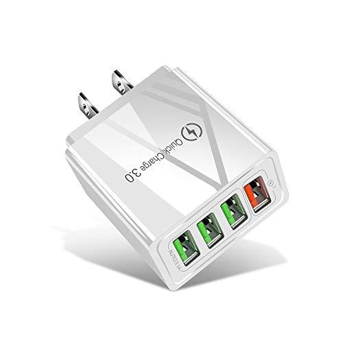 Wdckxy Chargeur de téléphone USB 3.0 30W + 3 Ports USB 2.0 téléphone Portable Tablet PC Chargeur Universel Chargeur Rapide Voyage, Prise américaine (Color : White)