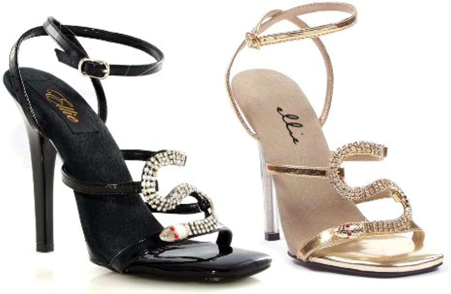 ELLIE 508-CHANTEL 5  Heel Strap Sandal with Snake Decor
