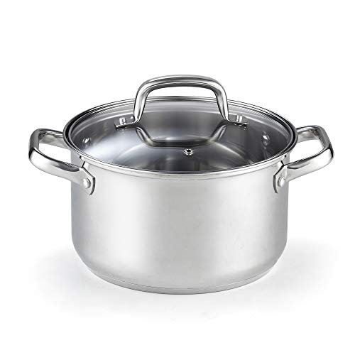 Cook N Home Lid 5-Quart Stainless Steel Casserole Stockpot, Silver