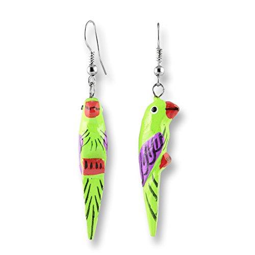 ISLAND PIERCINGS Papagei Ohrringe Hänger Handarbeit Holz Farbauswahl ER275