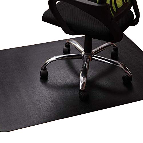 Office Chair Mat for Hardwood and Tile Floor, Black, Anti-Slip, Non-Curve, Under the Desk Mat Best for Rolling Chair and Computer Desk, 47 x 35 Rectangular Non-Toxic Plastic Protector, Not for Carpet