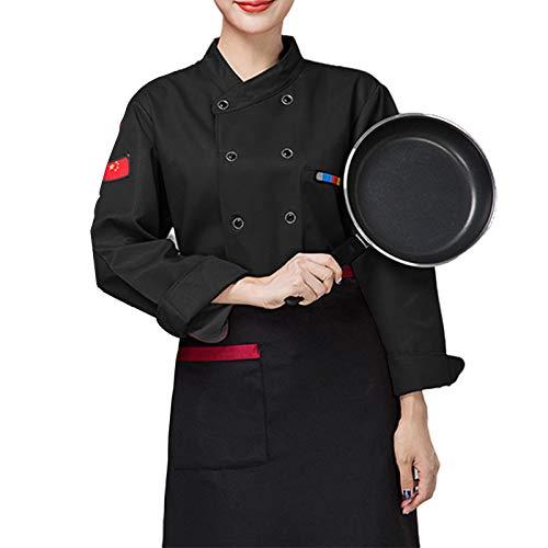 DNJKH Chaqueta Cocinero, Cómodo Chaqueta de Chef, Suave Cocina Uniforme