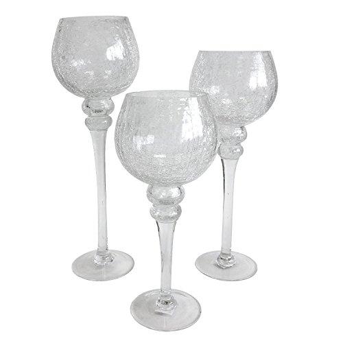 Multistore 2002 3tlg. Glas Windlicht Set Kerzenhalter Kelch Kerzenleuchter Kerzenständer auf Fuß Tischdekoration Glasdekoration