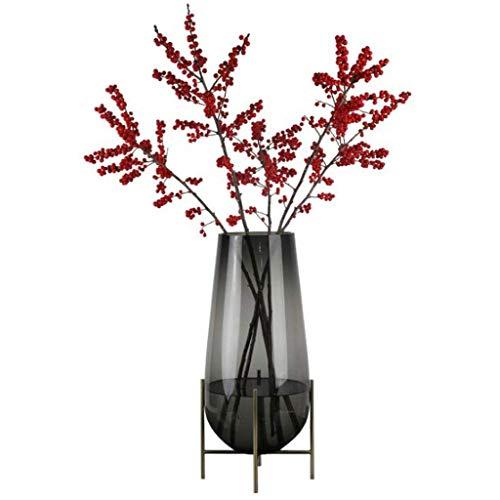 YONGYONGCHONG Zimmer Büro Küchentisch Ornament Dekoration Startseite Hochzeitsdeko Glasvase Weihnachten mehr Prozesse Glas und Metall Jar (Color : Gray)