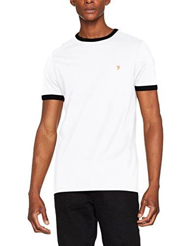 Farah Vintage Herren Groves Ringer T-Shirt, Weiß (White 104), Large