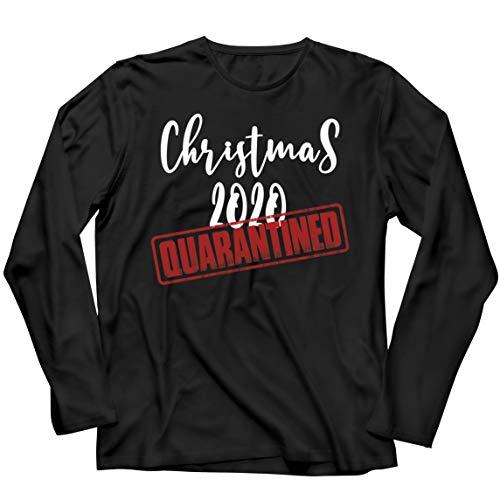 lepni.me Camiseta de Manga Larga para Hombre La Navidad del 2020 se puso en Cuarentena Junto con el Equipo de Emparejamiento de la Familia de Vacaciones (XXXXX-Large Negro Multicolor)