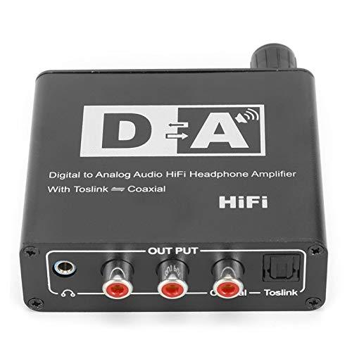 Shipenophy Ajuste de Volumen Convertidor de Fibra óptica de 32 kHZ Caja convertidora de Audio Auriculares de Alta fidelidad(Black, European regulations)