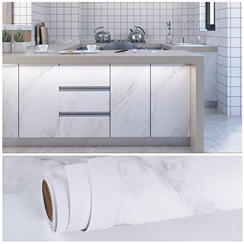 VEELIKE Papel Vinilo Adhesivo Papel Pintado Pared Grueso Marmol Blanco y Gris Impermeable Papel para Forrar Muebles para Muebles Papel Tapiz para Dormitorio Sala Encimera 40cm x 300cm