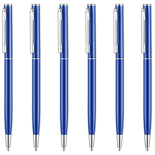 Unibene Slim Metallic Retractable Ballpoint Pens - Glossy Blue, Nice Gift for Business Office Students Teachers Wedding Christmas, Medium Point(1 mm) 6 Pack-Black ink