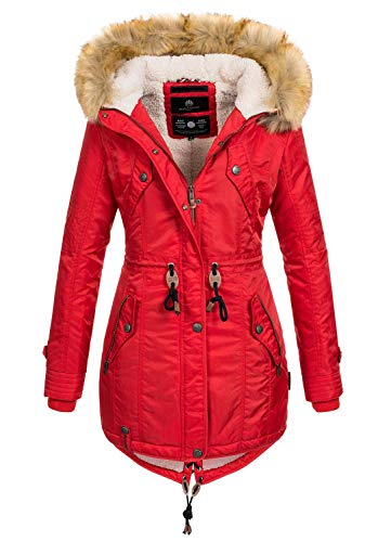 Navahoo warme Damen Winter Jacke Teddyfell Winterjacke Parka Mantel B399 [B399-Rot-Gr.XL]