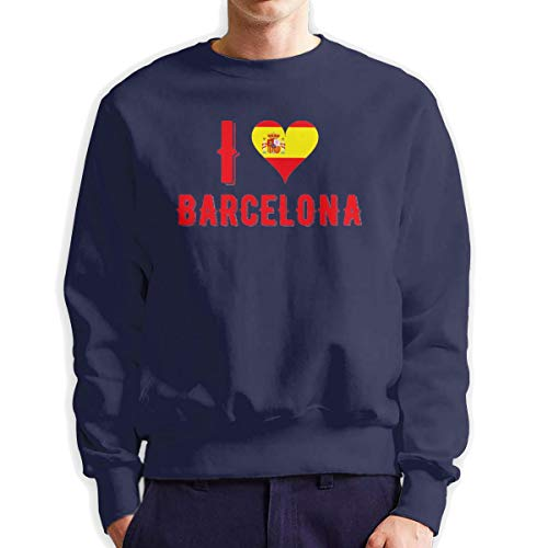 Top Groothandel Ik hou van Barcelona mannen Crew Neck Sweatshirt Medium Dikte Trui voor Mannen