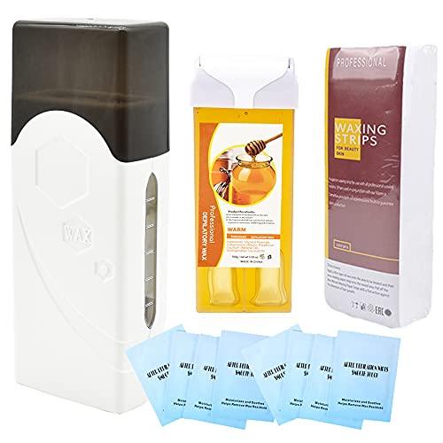 iMeshbean Depilatory Roll on Wax Heater Roller Warmer Cartridge Strips Hair Removal Kit US