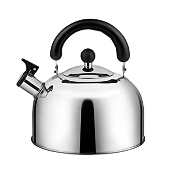 Stainless Steel Whistling Tea Kettle, Tea Pots for Stove Top, 4Liter(4.3QT), 3-Ply Capsule Base Tea Kettles Stovetop Quick Heating - Tea Pot by ECPURCHASE