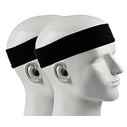 Ipow 2 Piece Anti-slip Sweatband Sport Headband Unisex Headband Great for Tennis, Running, Crossfit, Fitness for Ladies and Mens Black