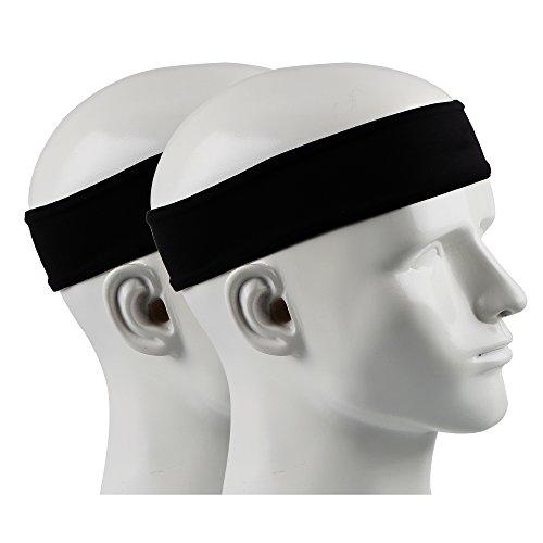 Ipow 2 Stück Anti-Rutsch Schweißband Sport Stirnband Unisex Headband ideal für Tennis, Laufen, Crossfit, Fitness für Damen und Herren Schwarz