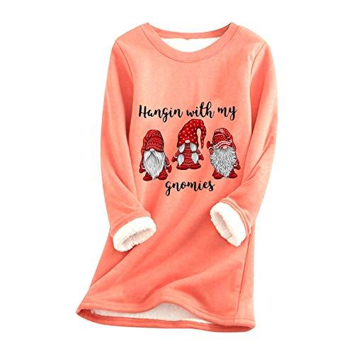 Xmiral Pullover Kleid für Damen Weihnachten Dickes Fleece Innen Warm O-Ausschnitt Unterwäsche Long Tops Sweatshirt(b-Orange,M)