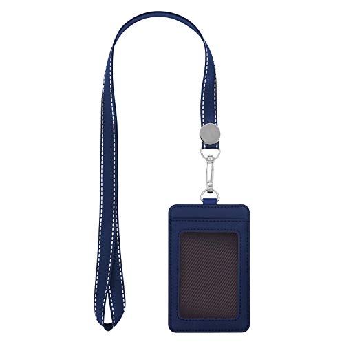 "Fushing 2-Sided Leather ID Card Holder with Lanyard, Genuine Leather Badge Holder with 1 ID Window, 2 Card Slots, 1 Piece 18.7"" PU Leather Detachable ID Lanyard with Swivel J Hook(Blue, Vertical)"