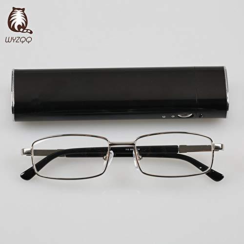 WYZQQ Reading Glasses leesbril, mini-balpen, zaklezer, lichte en praktische stralingsbril, verkrijgbaar van +1,00 tot +4,00 vergroting