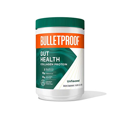 Bulletproof Gut Health Collagen Protein, Unflavored, 14 Oz, 2 Billion CFU Probiotic, Prebiotic, Zinc to Support a Healthy Gut Microbiome │ 10g Collagen Peptide for Gut, Bone, Joint, & Nail Support