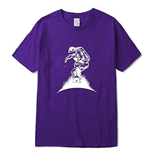 CHWEI Knitted Hat Camisetas para Hombre Camiseta para Hombre De Algodón Divertida Impresión De Surf Espacial Suelta Cool O Cuello Camiseta Suelta Camisetas Masculinas Tops A XL