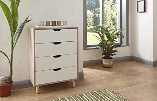 GFW Stockholm Kommode mit 4 Schubladen, Holzwerkstoffe, Weiß und Eiche, W56cm x H77cm x D30cm