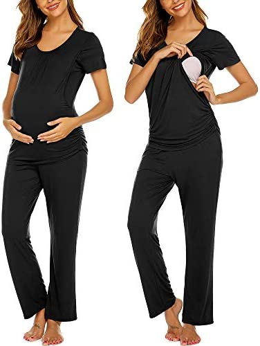 Ekouaer Women s Ultra Soft Maternity Nursing Pajamas Cotton Sleepwear Set Soft Pregnancy Breastfeeding product image