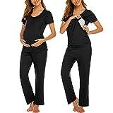 Ekouaer Women's Maternity Nursing Pajamas Cotton Sleepwear Set Soft Pregnancy Breastfeeding PJ Set Black M