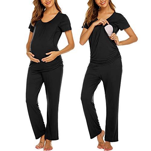 Ekouaer Women Ultra Soft Maternity & Nursing Pajama Set Pregnancy Sleepwear Black