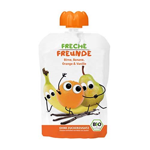 FRECHE FREUNDE Bio Quetschie Birne, Banane, Orange und Vanille, Fruchtmus im Quetschbeutel für Babys ab 1 Jahr, glutenfrei und vegan, 6er Pack (6 x 100 g)