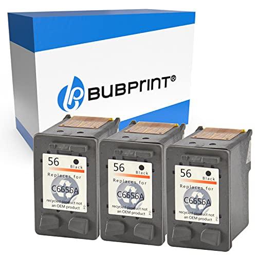 Bubprint Kompatibel Druckerpatronen als Ersatz für HP 56 für DeskJet 5150 5550 5600 5650 5652 OfficeJet 5510 5605Z 5610 5615 PhotoSmart 7760 PSC 1110 1210 1215 1315 1315S 1350 Schwarz 3er-Pack