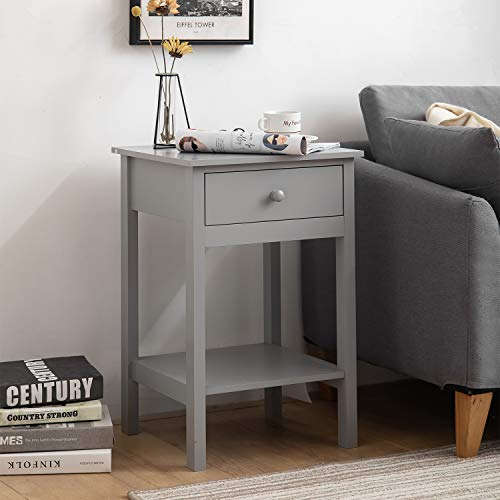 woodluv Bedside Drawer with Shelf Cabinet Side Table Storage Unit - Grey