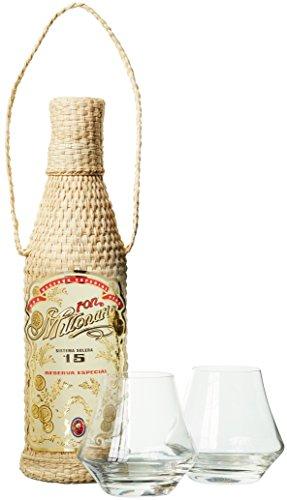 Millonario Solera Reserva Especial 15 Anos mit Geschenkverpackung mit 2 Gläsern Rum (1 x 0.7 l)