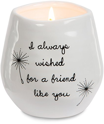 Pavilion Gift Company 77114 Plain Dandelion Always Wished for a Friend Like You White Ceramic Soy Serenity Scented Candle