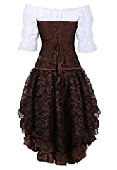 Grebrafan Steampunk Leather Corsets 3 Piece Outfits for Women Bustiers Skirt White Blouse Set Retro Gothic (UK(16-18) 3XL, Brown) #2